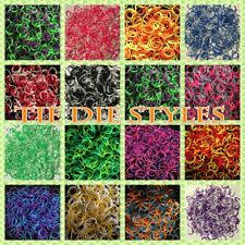 Wholesale Lot 7200 Tie Dye Style Rainbow Rubber Bands Refill Two Tone 12 Colors