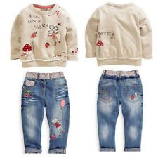 Infants Kids Baby Girls Clothing Tops Sweater + Jeans Pants suit Cartoon Set