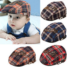 Kid Baby Toddler Plaid Beret Cotton Cap Check Casquette Peaked Newsboy Sun Hat