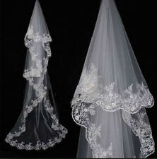 2015 Cathedral Wedding Bridal Veil 1T ivory white Lace edge 280cm length