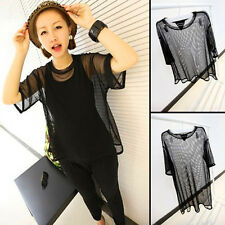 Women Black See Through Mesh Short Sleeve nice Shirt Oversize Cover Tops Blouse