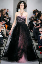 $12,490  New Oscar de la Renta Pink Black  Tulle Lace Ball Gown DRESS 6