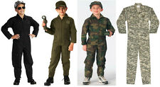 Kids Flight Suit Coveralls Military Style Army Navy Air Force Marines