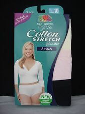 3 Fruit Of The Loom Fit For Me Women's Cotton Stretch Plus Size Brief Total 1 Pk
