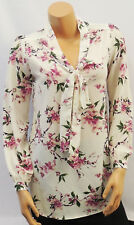 New Ladies Sheer Floral Crepe Chiffon Pussy Bow Long Summer Tunic Blouse UK 8-20