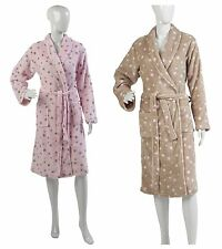 Womens Star Design Luxury Dressing Gown Ladies Soft Coral Fleece Cosy Bath Robe