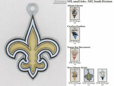 NFL team logo fobs (NFC South), pewter-toned, with team & leather strap options