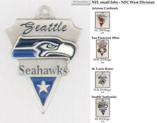 NFL team logo fobs (NFC West), pewter-toned, with team & leather strap options