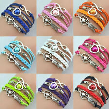 Fashional Infinity Love Heart Friendship Antique Silver Leather  Charm  Bracelet