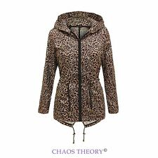 New Womens Ladies Leopard Print Rain Fishtail Mac Hooded Showerproof Coat Jacket