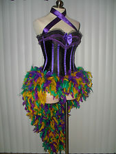 HOLIDAY MARDI GRAS MASQUERADE MERRY SHOWGIRL PARADE FEATHER CORSET COSTUME DRESS