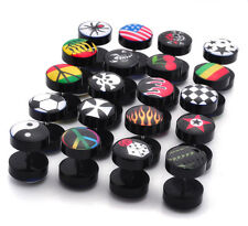 1 Pair Fake Cheater Ear Plug Piercing Earring Stud Tunnel Stretcher Lots Design
