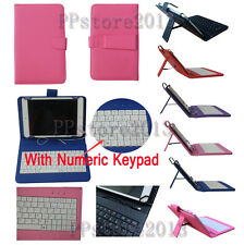 """Portable Micro USB Keyboard Leather Stand Book Case Cover For 7"""" 7.9"""" 8"""" Tablets"""