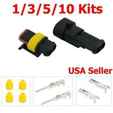 Set 2 Pin Way Sealed Waterproof Quick Splice Electrical Wire Connector Plug HID