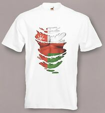 Oman Flag T-Shirt see Muscles through Ripped T-Shirt Sultanate of Oman All Sizes