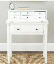 Small Writing Desk Accent  WHITE Antique Distressed Wood 7 Drawers Bedroom