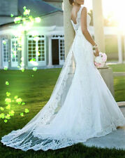 New white/ivory Lace Wedding Dress Bridal Gown Size 2 4 6 8 10 12 14 16 18+