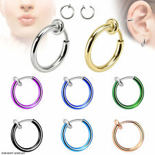 Titanium Anodized Spring Action NO Piercing FAKE Septum Lip Earring Nose Hoop