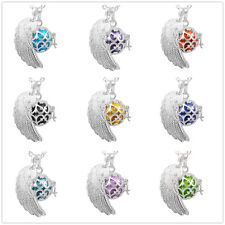 Harmony ball music pendant+silver angel wing cage &  mexican bola chain necklace