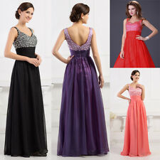 CHEAP~ Beaded Chiffon Long Formal Evening Party Prom Dress Bridesmaid Gowns Ball
