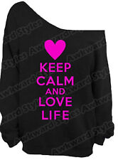 Keep Calm and Love Life Off the shoulder oversize slouchy sweater sweatshirt