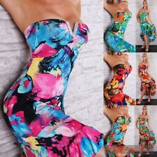 NEW SIZE 8-10 SEXY WOMENS EVENING STRAPLESS COCKTAIL FLORAL FORMAL LADIES DRESS