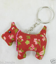 WESTIE SCOTTY DOG SHAPED MATERIAL KEY RING GREAT GIFT DOG LOVERS VARIOUS COLOURS