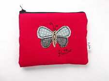 Handmade embroidered coin purse/ cosmetic bag - Butterfly design