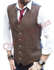 MENS WOOL BLEND BROWN TWEED FINE HERRINGBONE WAISTCOAT VEST -S M L XL XXL