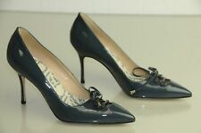 $785 New Manolo Blahnik FERANT Patent Grey Shoes Heels Pumps 37 6.5