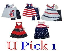 PATRIOTIC DRESS RED WHITE BLUE MEMORIAL LABOR DAY JULY 4TH FOURTH HOLIDAY GIRLS