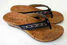 Vionic Orthaheel Aruba Leather Thong Wedge Sandals w/ Arch Support