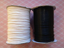 Black or White Waxed Polyester Cord. 1m, 5m, 10m & 160m. 1mm wide (SM01)
