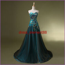 New Stock Peacock Prom Dress Bridal Wedding Gown Formal Evening Party Dresses SZ