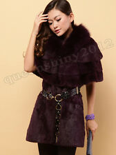 New100% Real Rabbit Fur Long Coat With Fox Fur Collar Jacket Cape Poncho Fashion