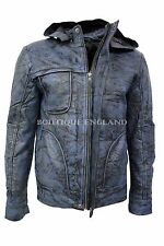 'GHOST PROTOCOL' Men's Blue WRINKLED Hooded Mission Impossible Leather Jacket