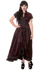 Ladies Ivy & Cross Pattern Black & Red Gothic Steampunk Victorian Long Dress