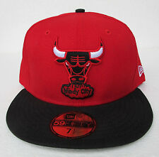 Chicago Bulls Red on Black All Sizes Fitted Cap Hat by New Era