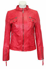 New Ladies Model F146 Red Fashion Classic Biker Style Soft Leather Rock Jacket