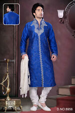 Mens Blue Colour Traditional Wear Kurta Payjama Dresses From India
