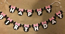 Minnie Mouse hand made Happy Birthday banner.Can be personalized.Polka Dot Bows