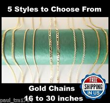 18K Gold Necklace Chains - 5 Styles - Figaro, Curb, Box, Snake & Rolo Link