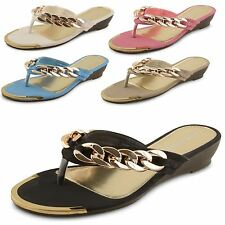 Womens Ladies Gold Chain Wedge Sandals Flip Flops Toe Post Summer Shoes Size
