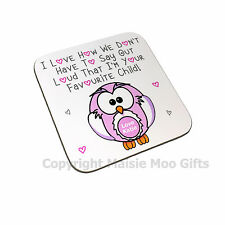 Personalised Love I'm Favourite Child Pink Owl Wooden Gift Coaster Mothers Day