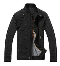 Men Classic Slim Fit Waterproof Bomber Biker Jacket Motorcycle Black Outwear