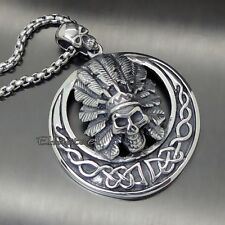 Men Large Heavy Tribal Chief Skull Celtic Knot 316L Stainless Steel Pendant