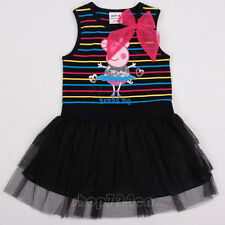 New Style 1-6 Years Kid's Girl's Cartoon peppa pig sleeveless Cotton TUTU Dress