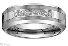 Men's Tungsten Carbide Diamond wedding band Ring 8mm wide size 8 to 16