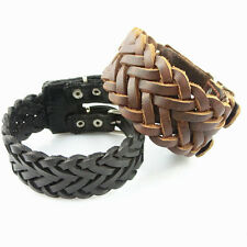 Hot Knit Style Real Leather Bracelet Wholesale lots Cuff Punk Bracelet SLS024