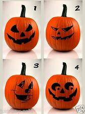 Halloween Pumpkin Funny Face Decals Set of 4 - Safer Than Carving - Select Size